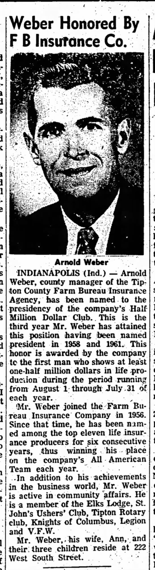 Arnold Weber - I Weber Honored By F B Insurance Co. Arnold...