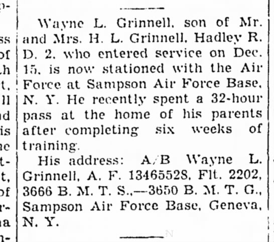Wayne - of Wayne L. Grinnell. son of Mr. and Mrs. H. L....