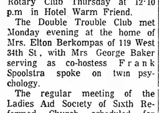 Spoolstra, Franklin Eugene 19620110; The Holland Evening Sentinel, Holland, MI. - Rotary Club Thursday at 12-10 p.m in Hotel Warm...