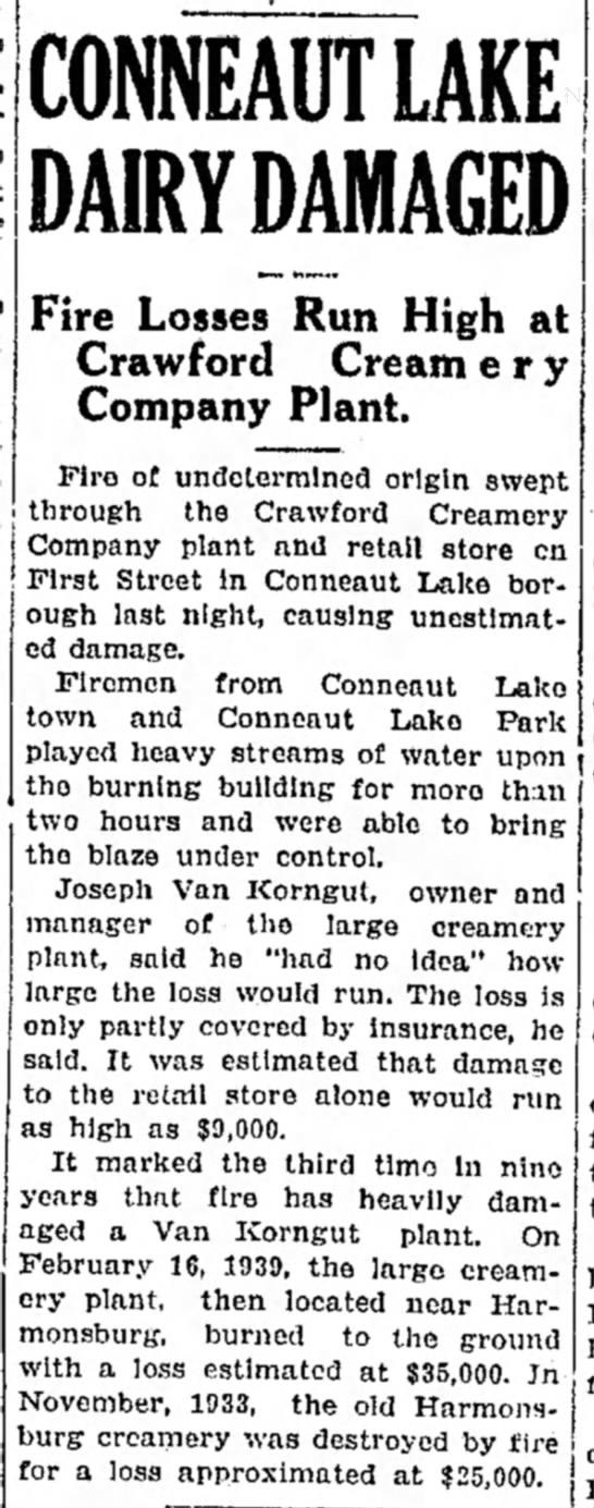 Record Argus 12/10/1941 - j j i CONNEAUT LAKE DAIRY DAMAGED Fire Losses...