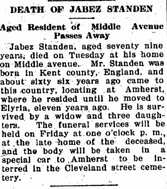 Standen, Jabez 1907 obit - has DEATH OF JABEZ STANDEX Aged Resident of...