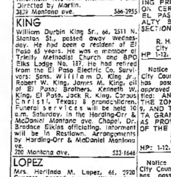 William Durbin King Obituary January 1971 - Directed by Martin. 3639 Moniono pvc. 566-3955...