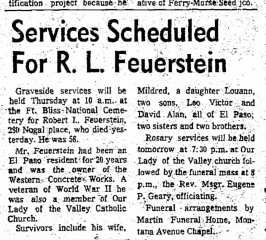 Funeral Services for R.L.Feuerstein. - beautification project because he...