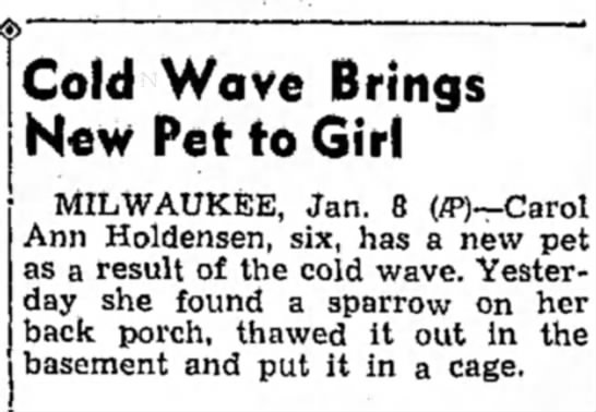 - Cold Wave Brings New Pet to Girl MILWAUKEE,...