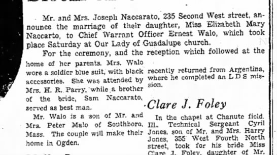 Ernest and Elizabeth Wedding Announcement - . Mr. and Mrs. Joseph Naccarato,' 235 Second...