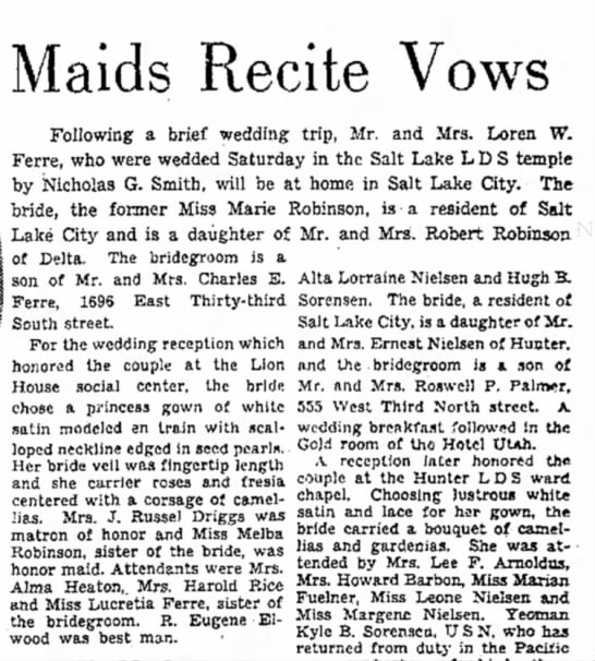 12 March 1944 - Maids Recite Vows Following a brief wedding...