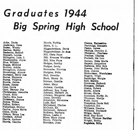 - Graduates 1944 •f Big Spring High School Ach«,...