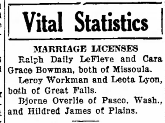 Hildred James - marriage license - 1938 - paid center 546 Vital Statistics MARRIAGE...