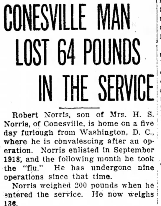 Conesville Man Lost 64 Pounds in the Service - Robert Norris, son of Mrs. H. S. Norris, of...