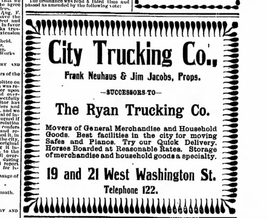 "Frank Neuhaus ad for ""City Trucking Co"""
