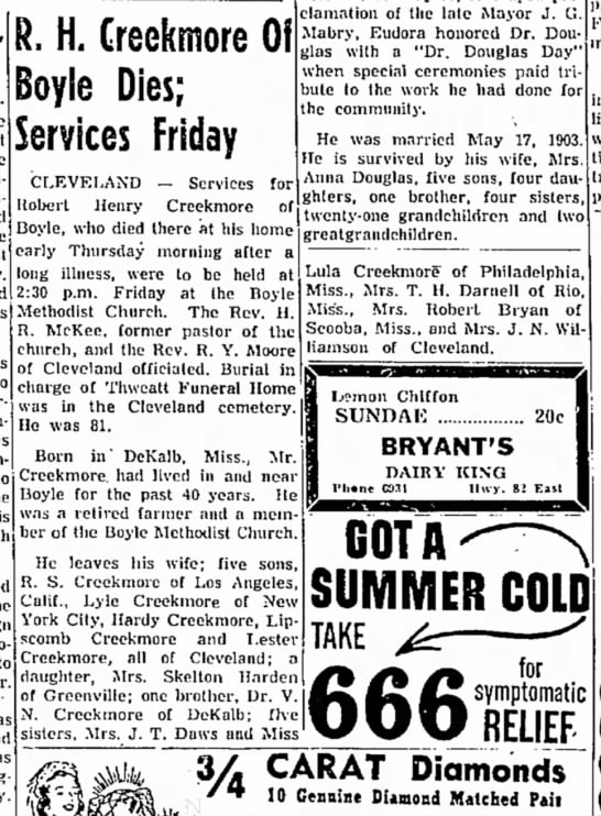 The Delta Democrat-Times, Greenville, MS 13 Aug 1954 - R. H. Creekmore Oi Dies; Services Friday...
