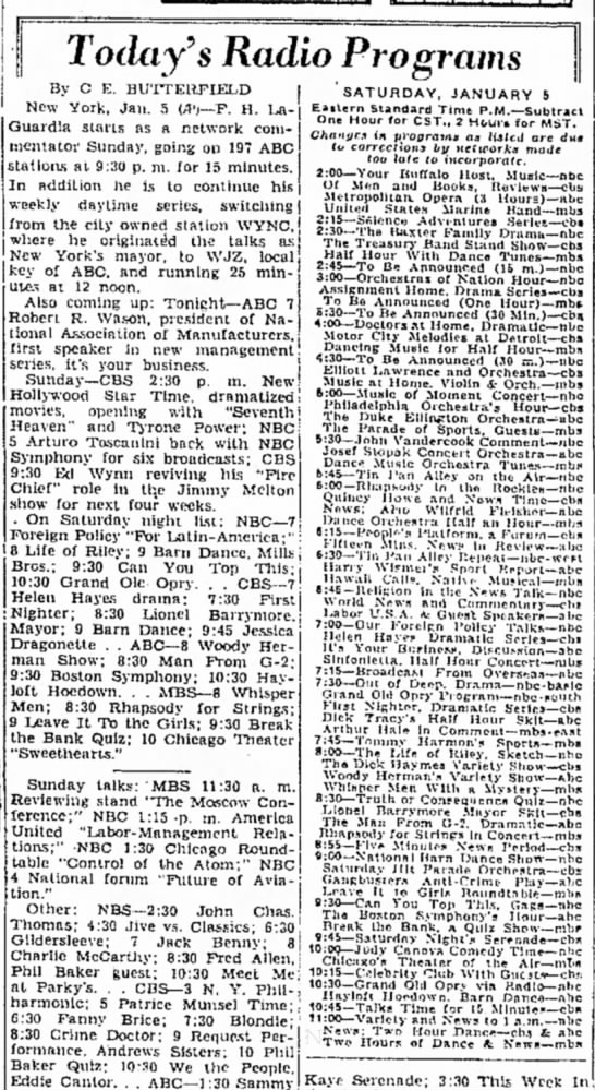 January 5,1946 - Today 9 s Radio Programs By C E. BUTTERFIELD...