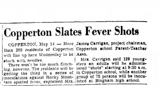 1949 Nona Carrigan chairman of Fever Shot drive - Copperton Slates Fever Shots COPPERTOX, May 14...