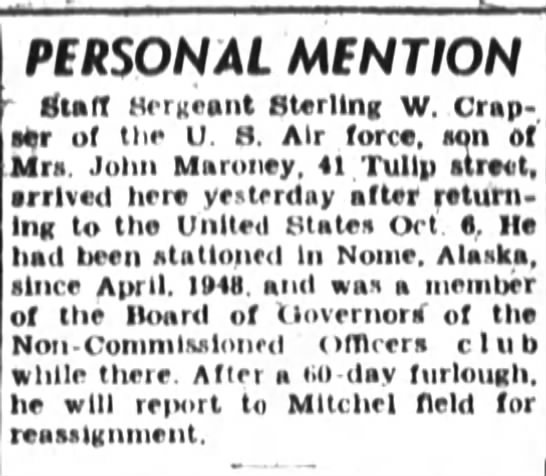 Staff Sergeant Sterling W. Crapser on furlough - PERSONAL MENTION - Buff Sergeant Sterling W...