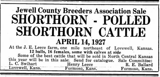 1927 breeders' sale - Jewell County Breeders Association Sale...