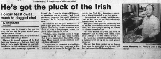 March 17, 1990- Keith Maroney and the Irish American Club - : (shoe slapping) at Poughkeepsle's Germania...