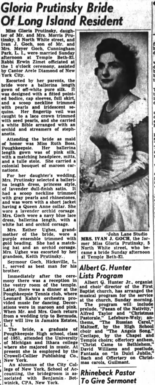 Gloria Prutinsky - Ivan Goch wedding 19 Dec 1954 - Gloria Prutinsky Bride Of Long Island Resident...