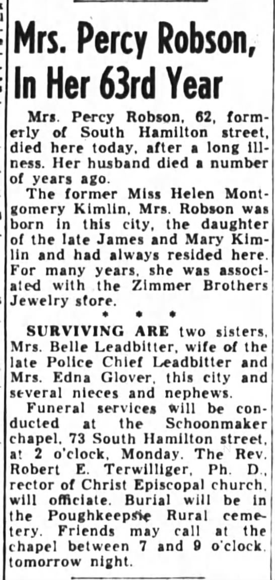 Helen Montgomery Kimlin Robson obituary Poughkeepsie New Yorker Saturday, September 22, 1956 - Mrs. Percy Robson, In Her 63rd Year Mn. Percy...