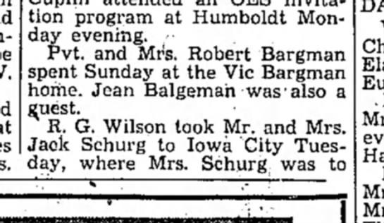 Bargman Visit 1953 - invitation program at Humboldt Monday Monday...