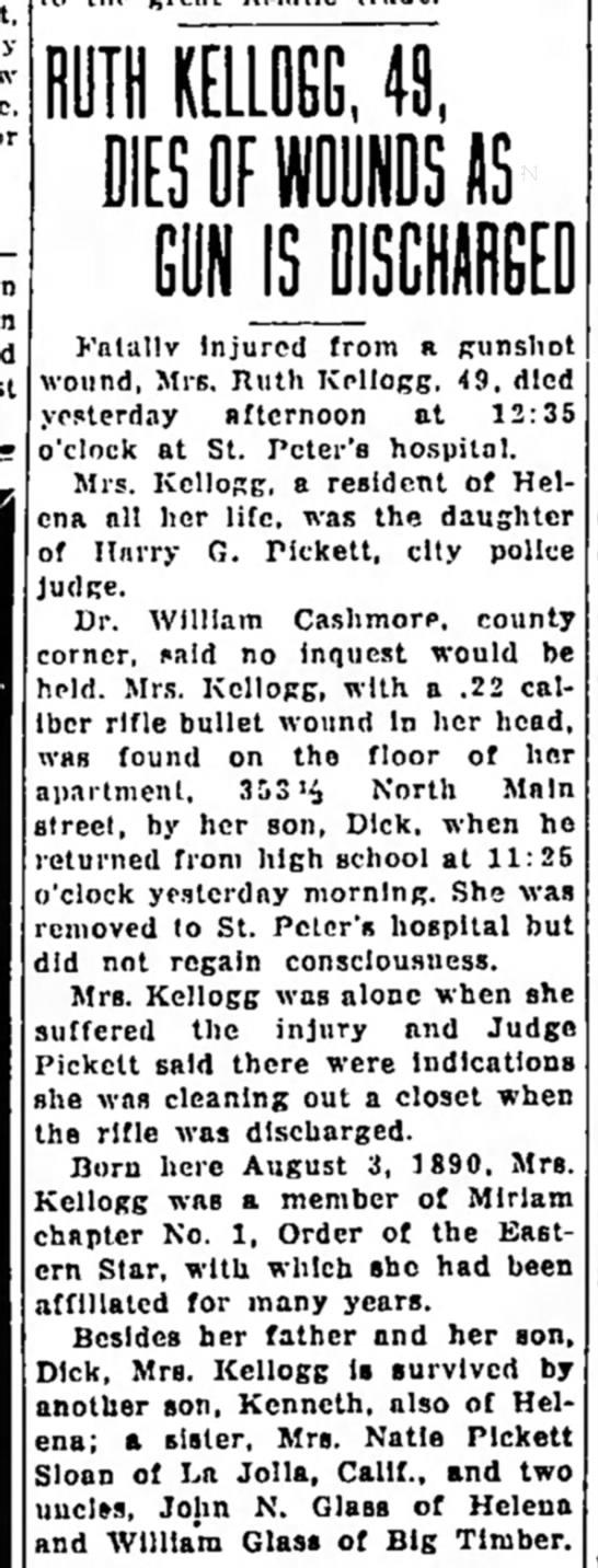 Ruth Kellogg - DeathIR Helena Mt8 Nov 1939
