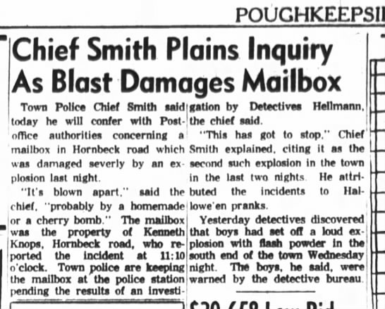 Hornbeck Road Mailbox - POUCHKEkPSlE Chief Smith Plains Inquiry As...
