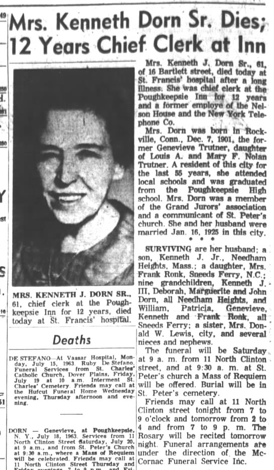 Genevieve Trutner Dorn obituary Poughkeepsie Journal Thursday, July 18, 1963 - . Mrs. Kenneth Porn'Sr Dies 12 Years Chief...