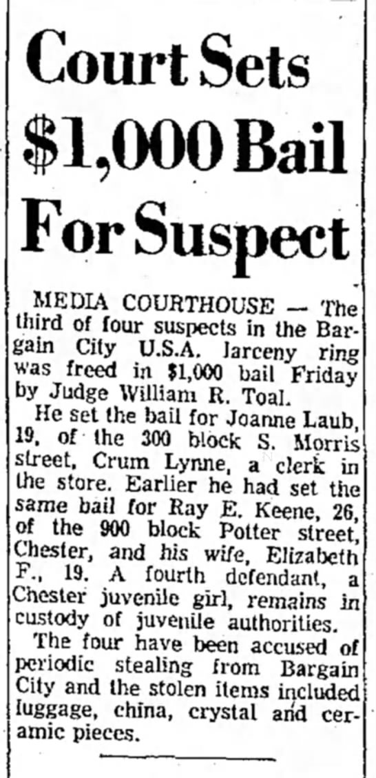 RAY KEENE BAIL SET DELAWARE DAILY TIMES JUNE 4 1960 - Court Sets $1,000 Baa For Suspect MEDIA...