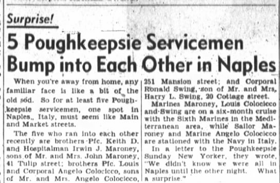 5 Poughkeepsie Servicemen Bump into Each Other in Naples- Keith and Irwin Maroney. - Surprise! 5 Pouqhkeepsie Servicemen Bump into...