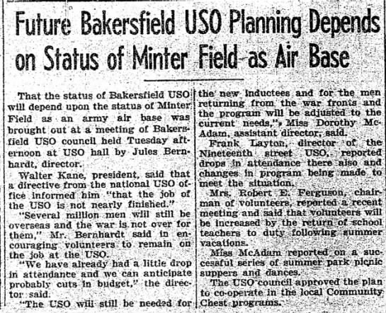 Future Bakersfield USO Status of Minter Field 7-12-45 - USO Planning on of Minter fields if f&se That...