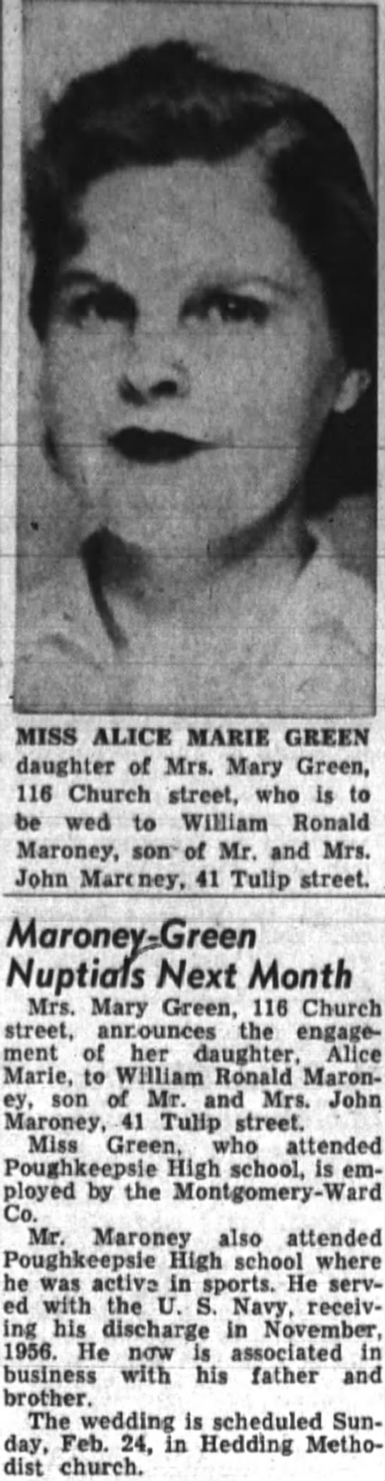 "Alice Green and William Maroney Engagement. - P ,M? kTli4tBM. . .... b - iiiiiH ETm "" MISS..."