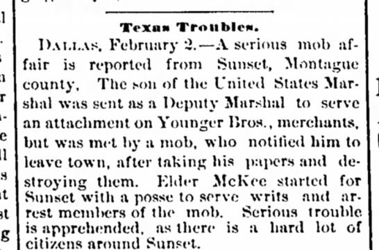 3 feb 1883 Helena - to join close Dunncll out list Texan Tronblen....