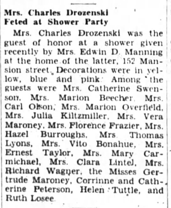 Mrs. Charles Drozenski  Feted at Shower Party with Gertrude Maroney - u.. ii,i. i),...n.i.i fc - i - li. d. - , rr....