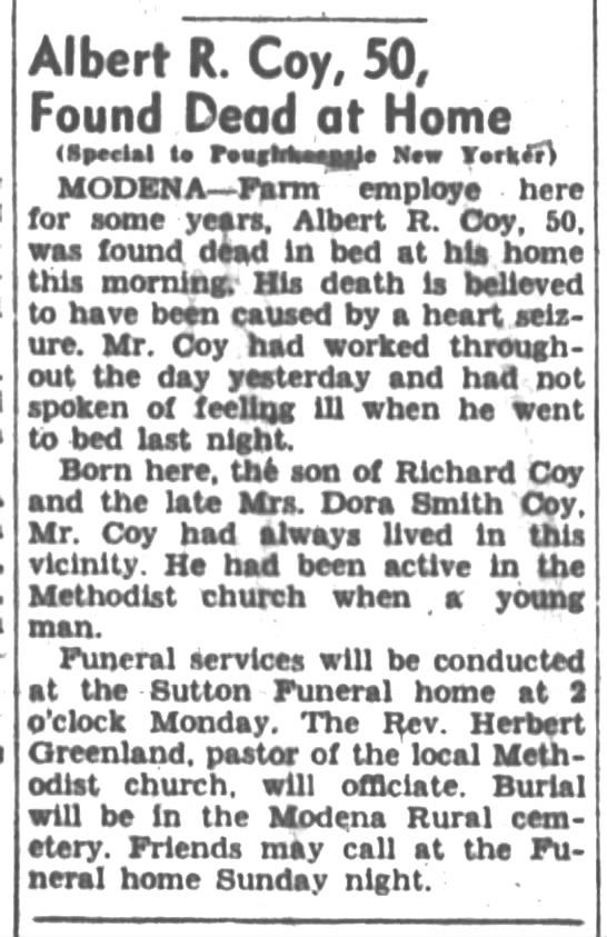 Albert R. Coy obituary Poughkeepsie New Yorker Friday, December 31, 1943 - 'SV.. Albert R. Coy, 50i Found .Dead at Home '...