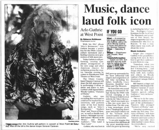 Poughkeepsie Journal, 5/17/2002 - Music, dance laud folk icon Courtesy photo ..,...