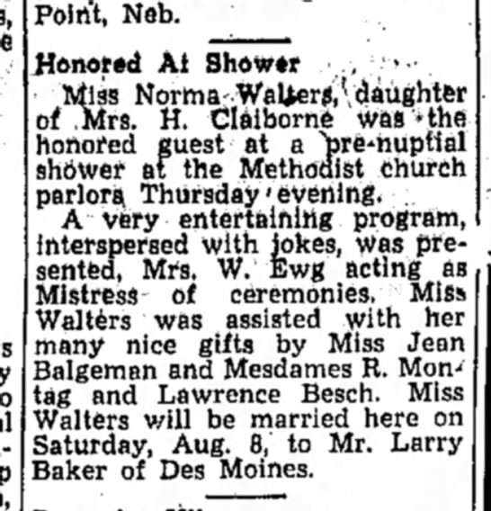 Norma Walters shower - POin't, Neb. Honored At Shower ,, • Miss...
