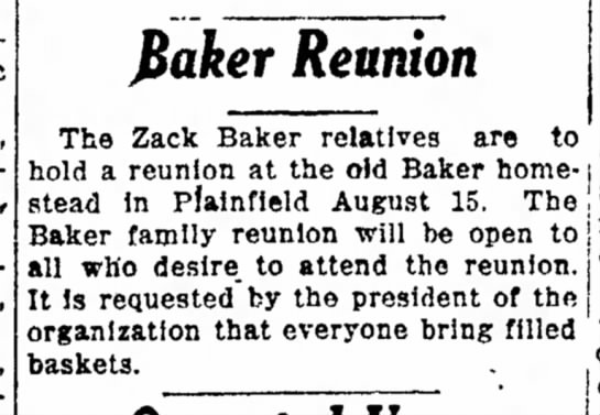 1920 Baker Reunion (1) - The Coshocton Tribune, Wednesday, 11 Aug 1920, p. 1