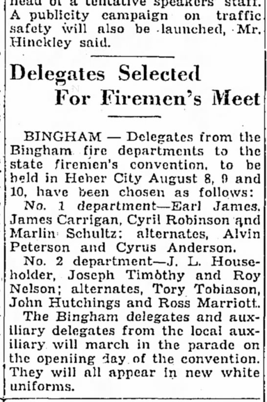 July 21, 1935  James R. Carrigan to attend firemen's convention & march in parade.