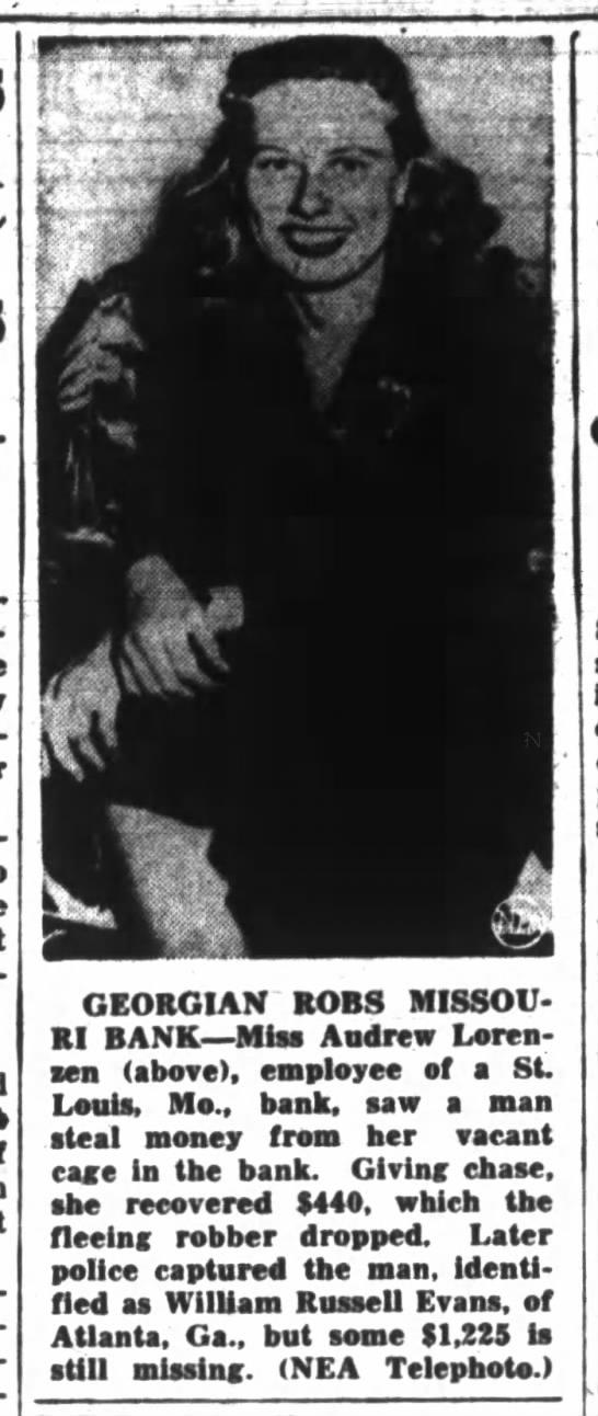 William Russell Evans - r i iff GEORGIAN ROBS MISSOURI MISSOURI BANK...
