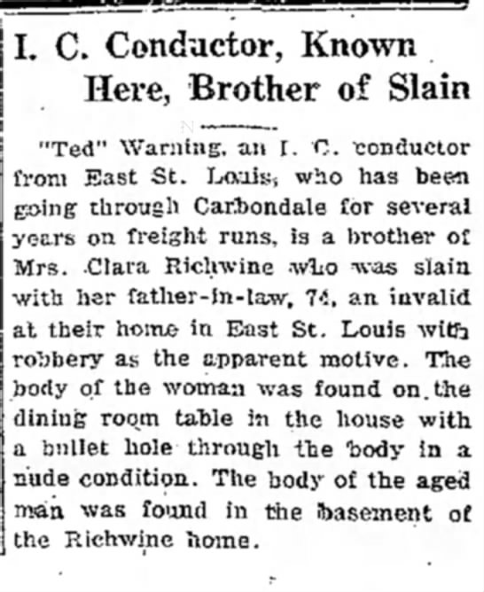 The Daily Free Press (Carbondale, Illinois) 12 January 1922 - I. C. Conductor, Known Here, Brother of Slain...