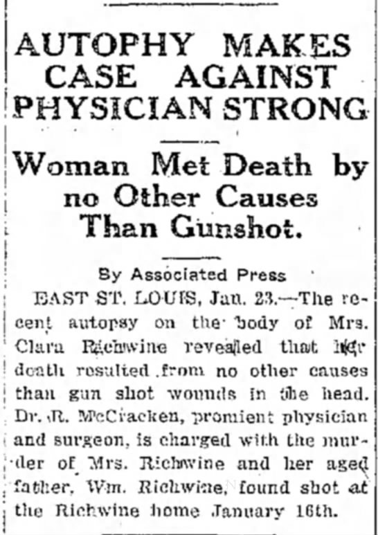 The Daily Free Press (Carbondale, Illinois) 23 January 1922 - AUTOPHY MAKES CASE AGAINST PHYSICIAN STRONG...