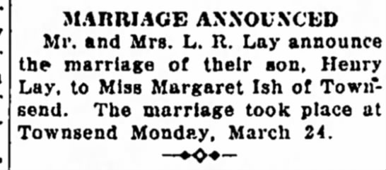Henry Lay - MARRIAGE ANNOUNCED Mi', and Mrs. L. R. Lay the...