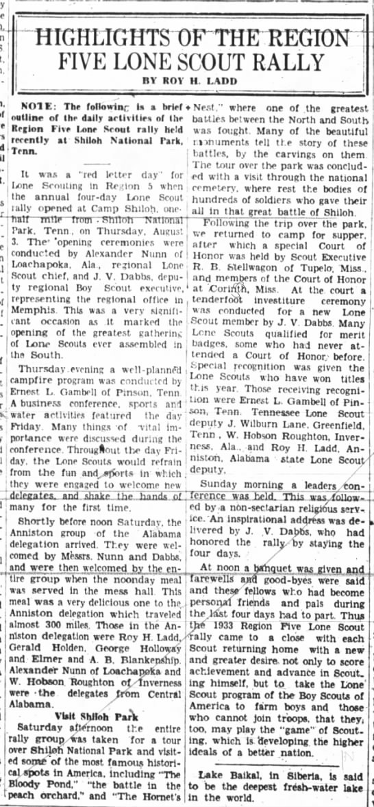 J V Dabbs at Regional Scout Rally from Anniston Star - 27 Aug 1933 - T m agrlcul-turnl ! Friday. Many things -of ....