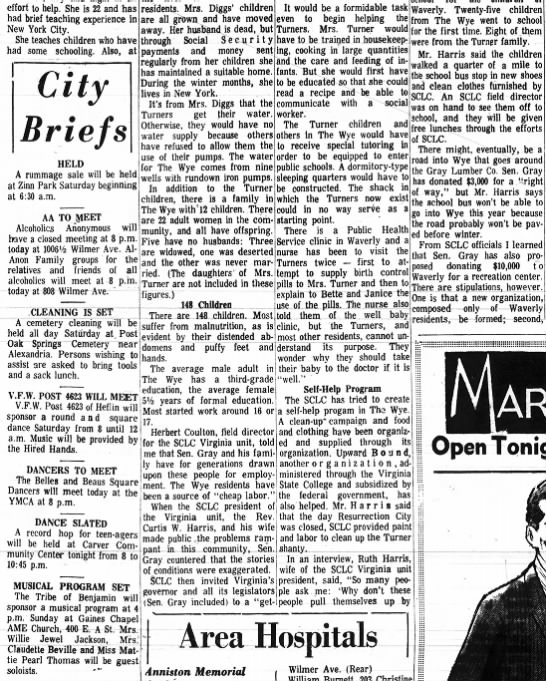 People of Wye Are So Poor They Don't Have Boot Straps---The Anniston Star: Sept. 20, 1968 - effort to help. She is 22 and has had brief...