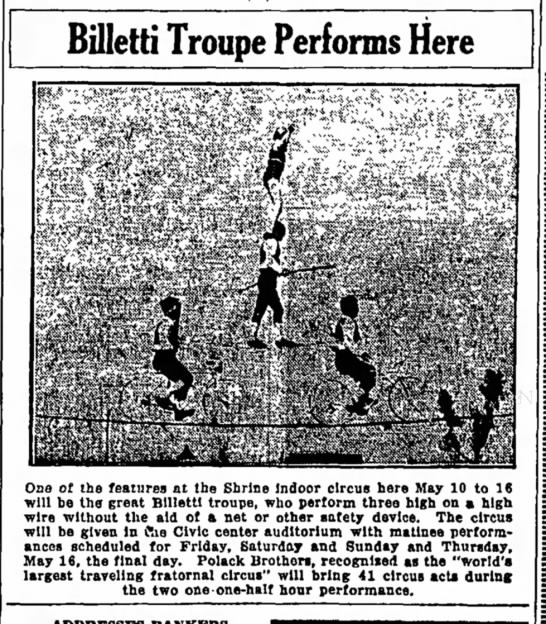 Billetti Troupe May 5, 1940 Independent Record, Helena, MT. - debt STAND Billetti Troupe Performs Here on In...