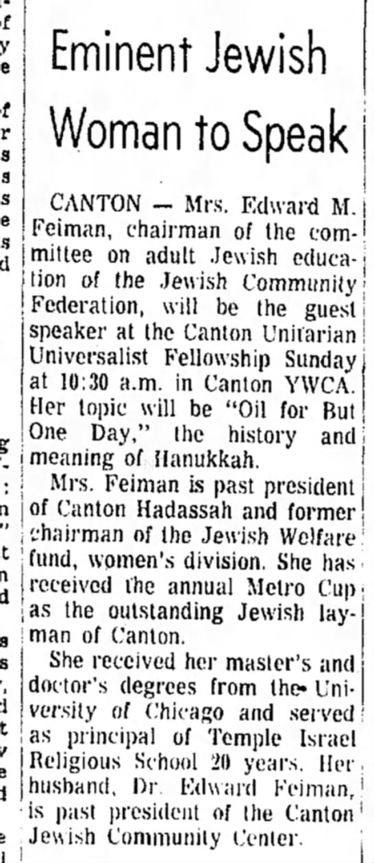The Daily Reporter (Dover, OH) 29 Nov 1968, p. 42, col 5 - Eminent Jewish Woman to Speak i CANTON - Mrs....