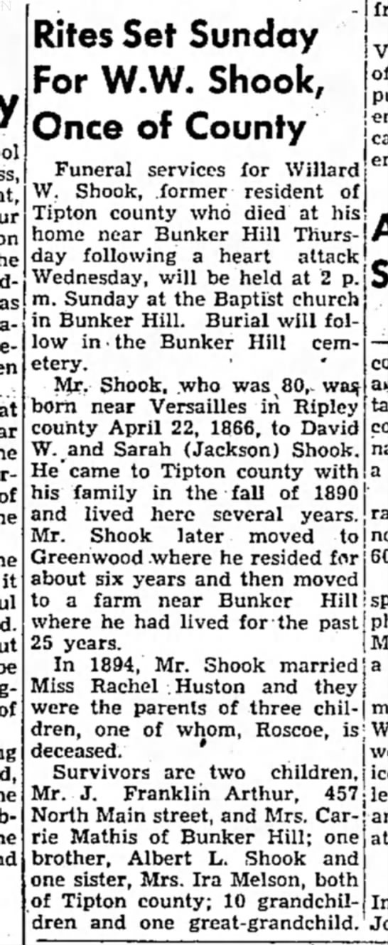 Wesley Shook Obit in the Tipton Tribune,31 Jan 1947 - he it Rites Set Sunday For W.W. Shook, Once of...