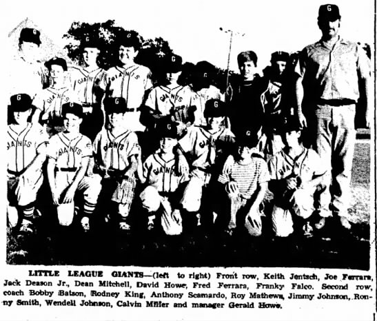 - LITTLE LEAGUE GIANTS-(left to right) Front row,...