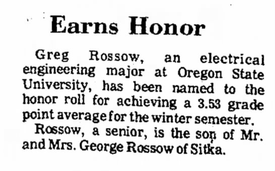 - Earns Honor Greg Rossow, an electrical...