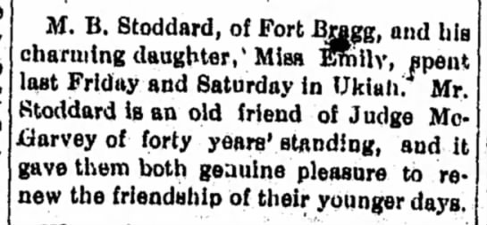 Mark and Emily in Ukiah 1892d - H. B, Stoddard, of Fort .^gg, and his charming...