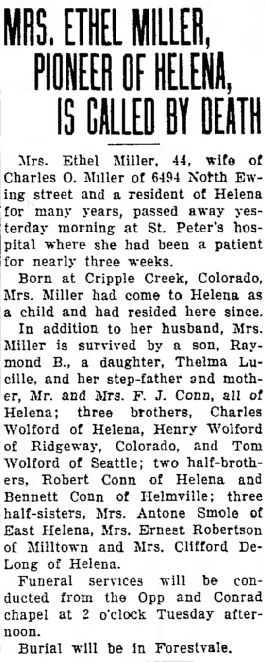Ethel Wolford's Obit - down a The IS. EUL110, Mrs. Ethel Miller, 44,...